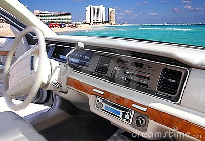 Car indoor retro vintage in Cancun mexico beach
