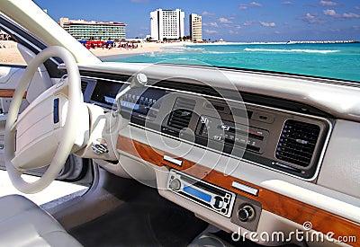Car indoor retro vintage in Cancun mexico beach