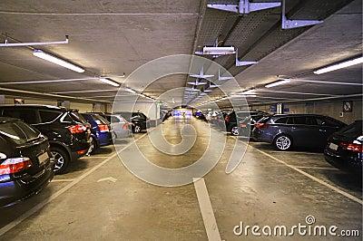 Car inside parking garage