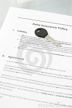 Car Insurance Policy. Auto insurance policy and car