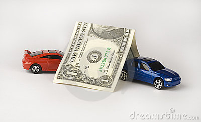 Car Insurance depicted by cars covered by a dollar