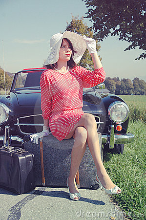 Car journey of the beautiful women, fifties style