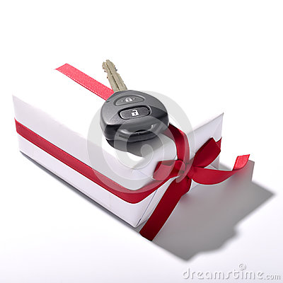 Free Car Key And Gift Box Stock Images - 52834184