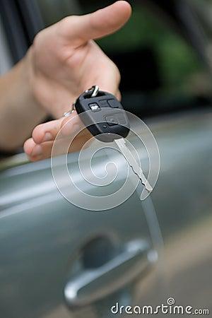 Car key in male hand