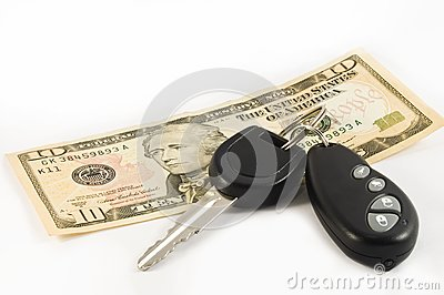 Car key and a ten US dollar bill