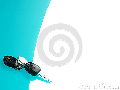 Car keys on blue background