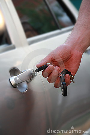 Car keys in a man s hand