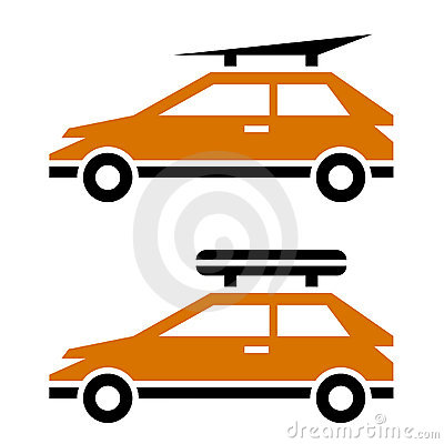 Car with luggage roof rack icon