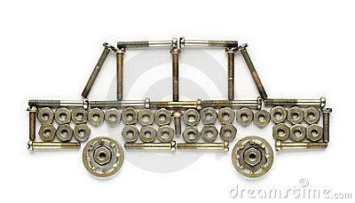 Car made of nuts and screws