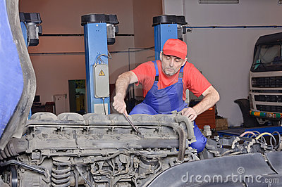 Car mechanic engine repair
