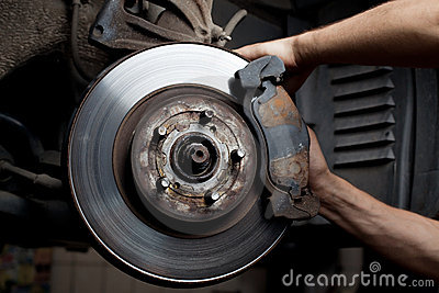 Car mechanic repair brake pads