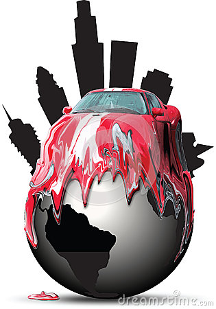 Car melting over a globe