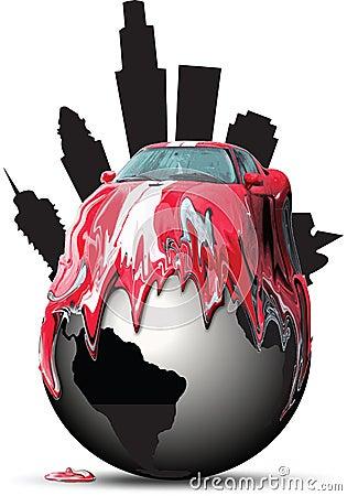 Car melting over a globe