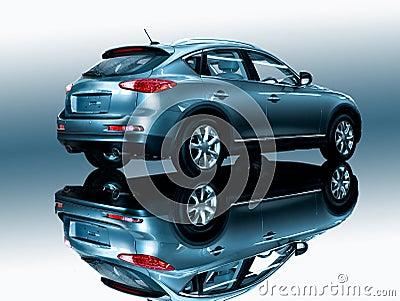 Car on a mirror
