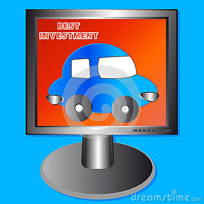The Car In The Monitor Royalty Free Stock Images - Image: 25951659