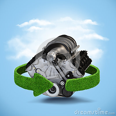 Free Car Motor Engine Concept With Green Arrows From The Grass. Recycling Concept On Blue Background Royalty Free Stock Image - 56959446