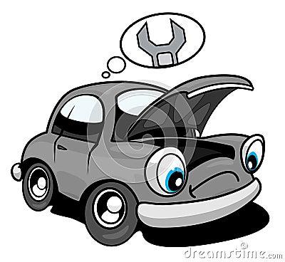 Car needing repair cartoon