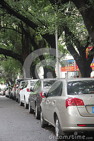 The car parked on the side of the road in SHEKOU SHENZHEN Editorial Image
