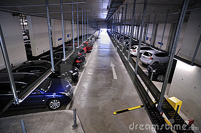 Underground parking filled with cars Editorial Photo