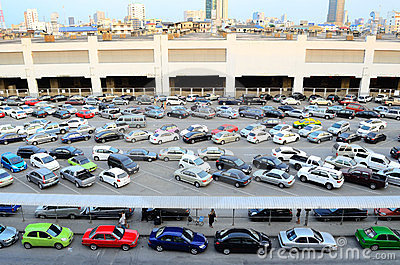Car parking straight angle Editorial Image