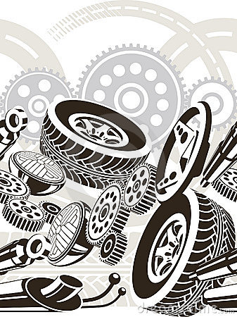 Car parts seamless pattern