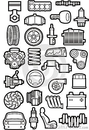 Free Car Parts Set Stock Photos - 35898063