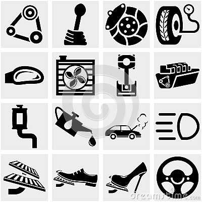 Car Parts Vector Icon Set On Gray Royalty Free Stock Image - Image ...