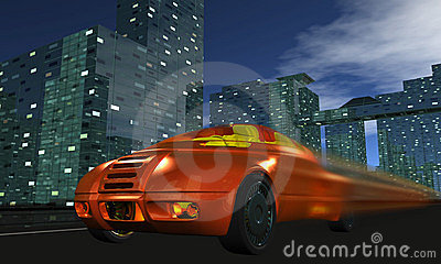 Car quickly goes on night city