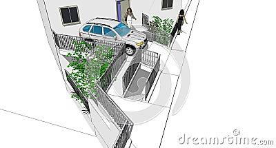 Car and railings