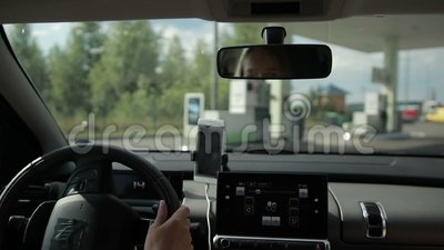 Car refueling on modern petrol station. stock footage