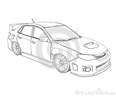 Car rendering in lines