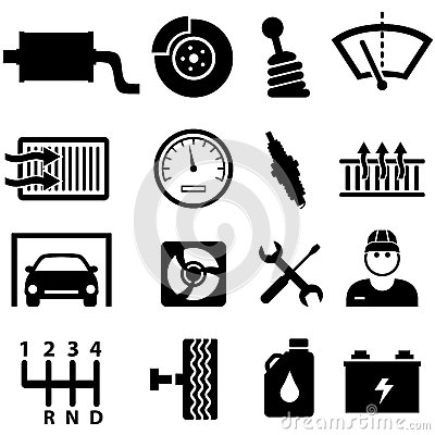 Car repair and mechanic icons