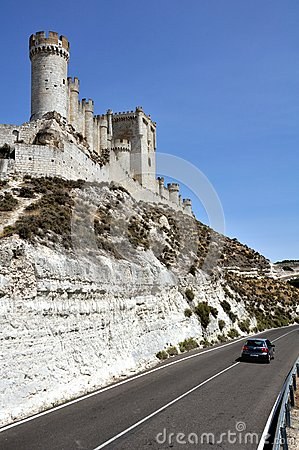 Car on the road near the Penafiel Castle Editorial Stock Image