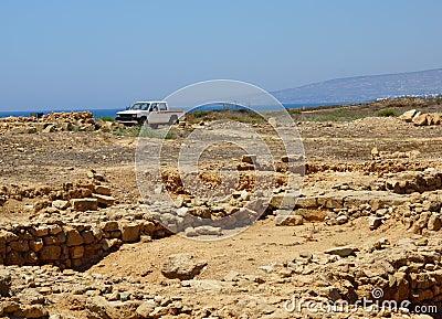 Car and ruins
