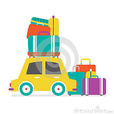 Free Car S Side View With Heap Of Luggages Royalty Free Stock Images - 45283449