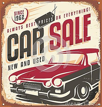 Free Car Sale Vintage Metal Sign Royalty Free Stock Image - 44006546