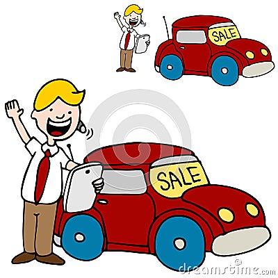 Car Salesman Using His Digital Tablet Device
