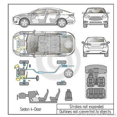 car sedan interior parts engine seats dashboard drawing outlines not converted to objects stock. Black Bedroom Furniture Sets. Home Design Ideas