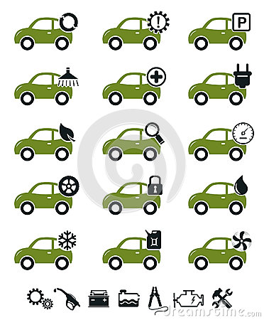 Car service icons green set
