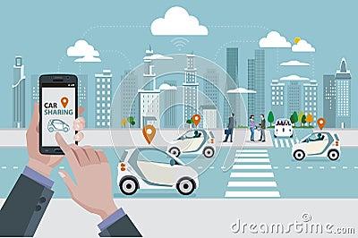 Car Sharing Vector Illustration