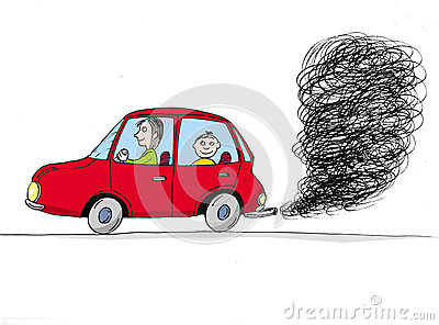 Car with smoke, cartoon