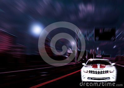 Car speeding through city depiction