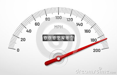 Car speedometer dashboard. Speed metre panel with odometer, miles counter and urgency dial isolated vector concept Vector Illustration