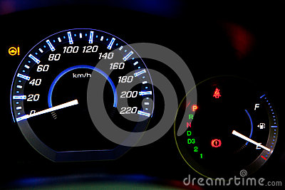 Car speedometer at night