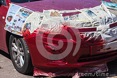 Car Spray Paint Repair Editorial Photography