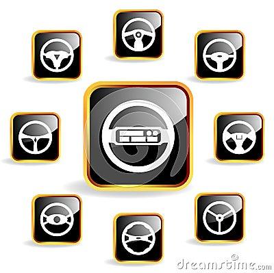 Car steering wheel crystal icon