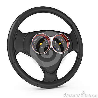 Car steering wheell with dashboard