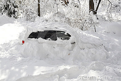 Car Stuck in Snow Storm