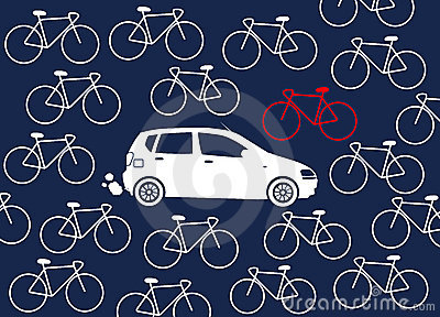 Car surrounded by bikes