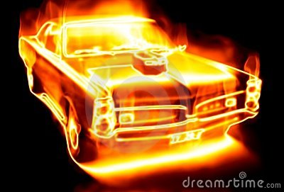 Car surrounded by flames